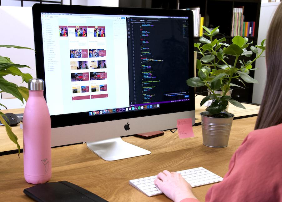 Woman sitting at a computer